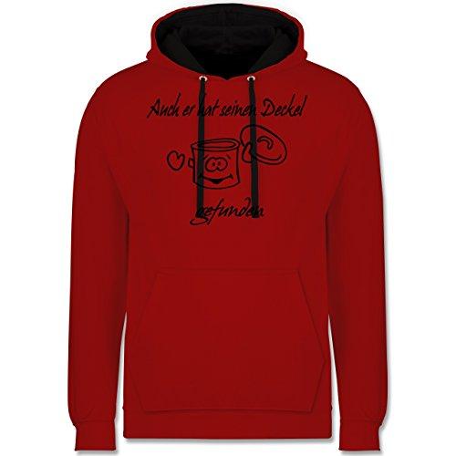Sprüche - Auch er hat einen Deckel gefunden - Kontrast Hoodie Rot/Schwarz