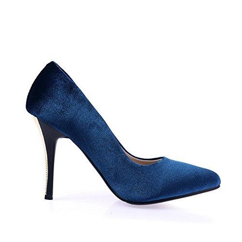 AgooLar Damen Ziehen Auf Spitz Schließen Zehe Stiletto Nubukleder Rein Pumps Schuhe Blau
