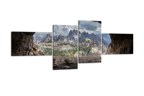 Leinwandbild Dolomiten LW191 Wandbild, Bild auf Leinwand, 4 Teile, 200x90cm, Kunstdruck Canvas, XXL...