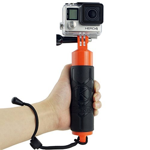 Camkix® Poignée Flottante Premium pour GoPro/DJI Osmo Action Flotteur à Prise en Main pour GoPro Hero 4, 3+, 3, 2, 1 / Intérieur Creux pour Ranger de Petits Objets