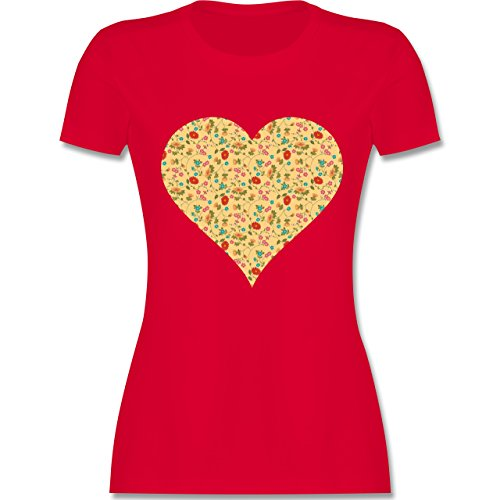 Vintage - Herz Blumen - tailliertes Premium T-Shirt mit Rundhalsausschnitt für Damen Rot