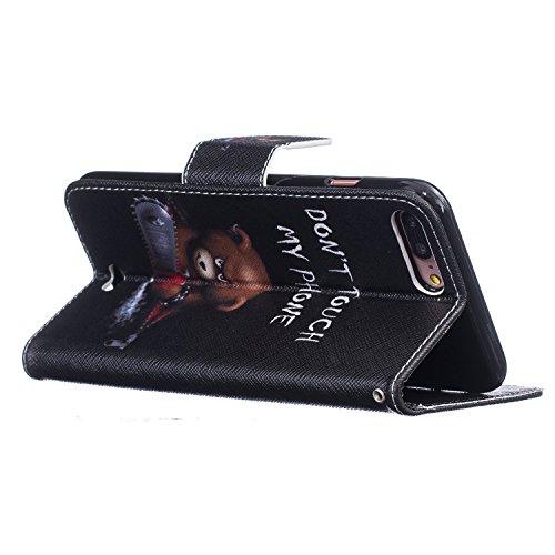 EUWLY Case Cover per iPhone 7 Plus/iPhone 8 Plus (5.5) Custodia Portafoglio in PU Pelle Cover Ultra Slim Sottile Flip PU Leather Wallet Case Portafoglio Cover con Porta Carte, Supporto Stand Funzione Orso Chainsaw