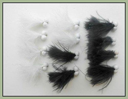 12vorbei Katzen Haar Forelle Fliegen, schwarz & weiß gemischt Größe 10, für Fliegenfischen