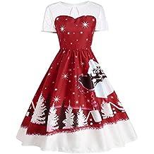 Weihnachtskleid Damen Weihnachtspullover Weihnachtsdeko Cocktailkleid Pullover Kleider Sexy Spitze Kleidung Weihnachtsmann Elch Schlitten Druchen Party Swing Festlich Kleid