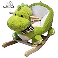 Techstyleuk® Wooden Plush Dinosaur Rocking Toddler Baby Ride On Rocker Play Toys With Music
