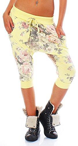 malito Damen Haremshose kurz   Boyfriendhose im Baggy Style   Jogginghose mit Rosen Print   Pants – Bermuda 20027 (gelb)