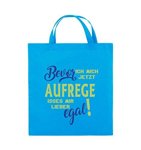 Comedy Bags - Bevor ich mich jetzt aufrege isses mir lieber egal! - Jutebeutel - kurze Henkel - 38x42cm - Farbe: Schwarz / Weiss-Neongrün Hellblau / Hellgrün-Royalblau