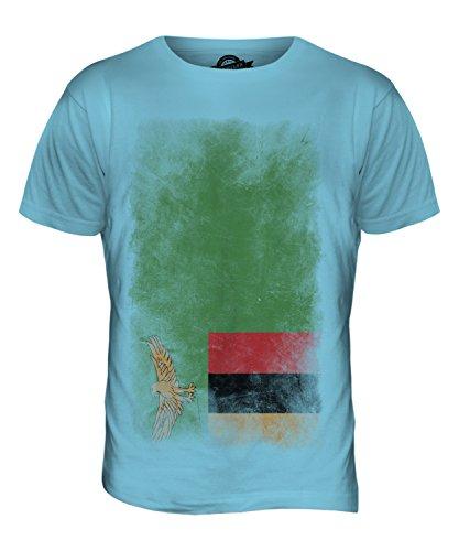 CandyMix Sambia Verblichen Flagge Herren T Shirt Himmelblau