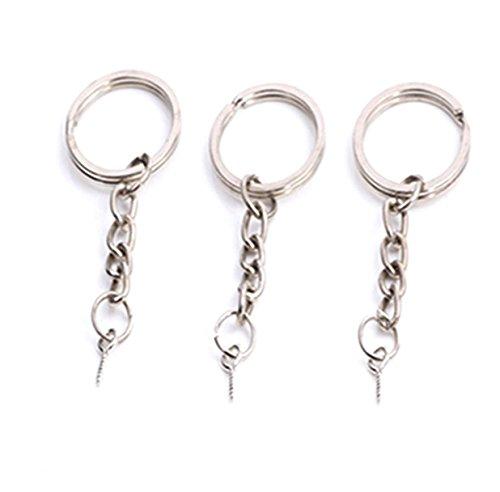 one flach rund 24mm Split Key Ring Schlüsselbund w/befestigt verlängern Kette Eye Schraube Eye Pin Bails Top gebohrt Stecker Anhänger Bail (Anhänger Bails)