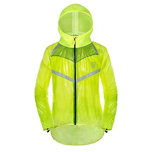 Aolvo Mantel Jacke Damen/Herren, wasserdicht, Regen-Anzug, wasserdicht, conjoined mit Kapuze Regenbekleidung, satety Reflektierende Regenjacke für Outdoor, Fahrrad, Mountainbike, Motorrad, Camping, Angeln L coat green