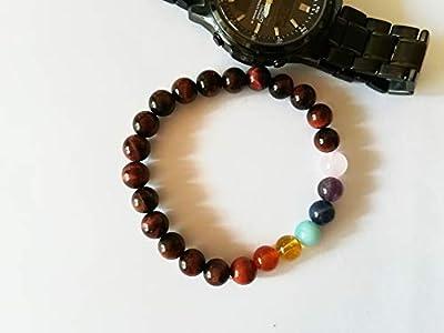 Bracelet sept chakras, Bracelet oeil de taureau, Bracelet Bonheur, Bracelet Energie, Bracelet pierres, Bracelet Harmonie, Cadeau Etrennes