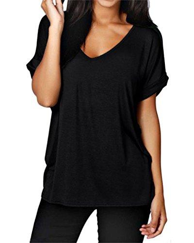 ZANZEA Femme Sexy Mousseline Col V Chemise Irrégulier Tops Blouse Manches Courtes T-Shirt Noir 2