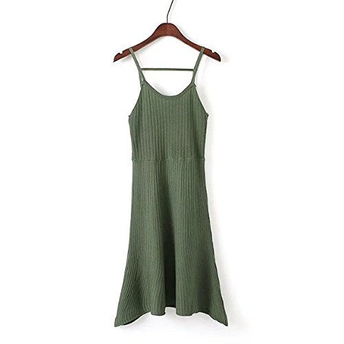YLSZ-Knitted Dresses Summer Wild Leakage Shoulder A Knitting Dress Short Skirt Women, Army Green Are Code Army green are code