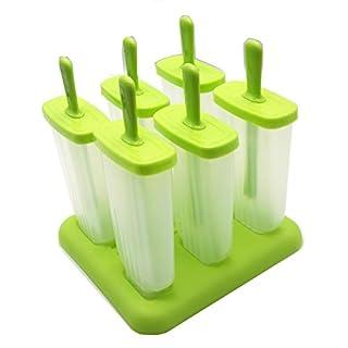 6Zellen Rechteck geformten wiederverwendbare DIY Kunststoff Popsicle Formen Ice Lolly Maker BPA-frei Kinder Küche Ice Pop Formen Maker, Grün