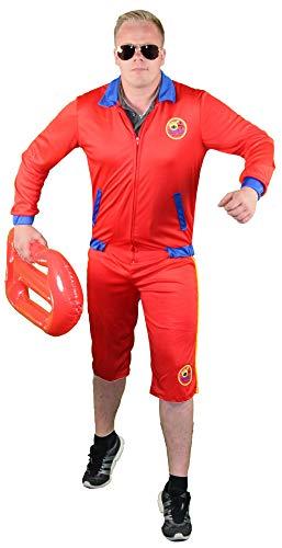Foxxeo rotes Rettungsschwimmer Kostüm für Herren - Größe M bis XL - Bademeister Lifeguard Größe Fasching Karneval Größe - Lifeguard Kostüm Herren