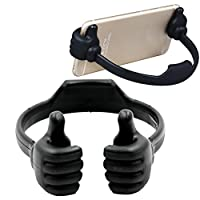 Lymocha 1x Cute Desktop Phone Holder Portable Thumb Design Lazy Phone Bracket for Smartphone Tablets (Black)
