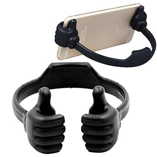 DaoRier Halterungen Silikon Smartphone Halter Handy Ständer umarmende Hände Halterung für Den Schreibtisch Daumen Hoch, Schwarz