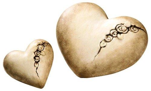 Cœurs en céramique beiges «Roses» lot de 2