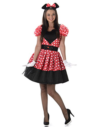Miss Mouse Ladies Fancy Dress Animal Book Day Womens Adults Cartoon Costume (Ratte Frauen Kostüm)