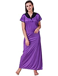 Freely Silver Color Satin Nighty Gown