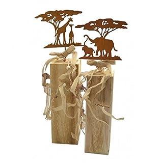 Unbekannt 2er Set Afrikanische Säulen Holz Giraffen Elefanten Baum Säule Afrika Dekoration