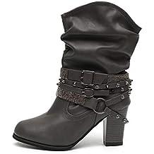 Botas Mujer Tacon Alto Cuero Botines Invierno Pelaje Tobillo Hebilla Zapatos de Trabajo Señoras Altos Talones 7CM Fiesta Negras Marrón Beige 35-43