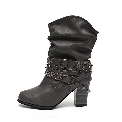 Stiefeletten Damen mit Absatz, Leder High Heels Stiefel Warm Gefüttert Blockabsatz Winterschuhe Mode Elegante Kurzschaft Boots 8Cm Schwarz Grau Braun Gr.35-43 GY43 -