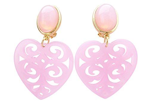 Sehr große leichte Ohr-Clips vergoldet rosa Stein herz-förmiger Anhänger Valentinstag Dirndl Tracht Statement Glamour Party Designer JUSTWIN