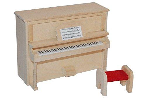 Unbekannt 2 tlg. Set Klavier mit Hocker - Holz Maßstab 1:12 Möbel hell hellbraun Miniatur Puppenstube Piano - Instrument Musikinstrument