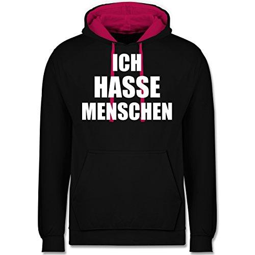 Statement Shirts - Ich Hasse Menschen - XL - Schwarz/Fuchsia - JH003 - Kontrast Hoodie