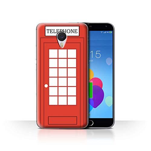 eSwish Hülle/Case für Meizu M3 Note/Klassische Rote Telefonzelle Muster/London Stadt Großbritannien Kollektion