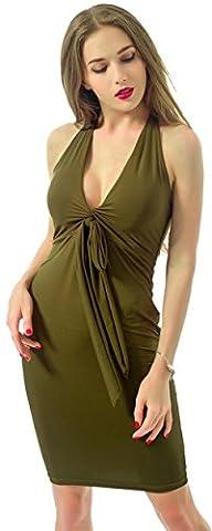 Femmes Sexy sans manches Bandage Robe ?? bretelles Halter avec des styles diff??rents, Vert - Vert armée, Large