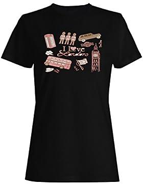 Amo la ciudad divertida del vintage del conductor de autobús de londres camiseta de las mujeres yy76f