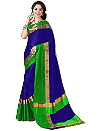 Tulsi Fab Women's Cotton Silk Saree With Blouse Piece (Blue & Pink)