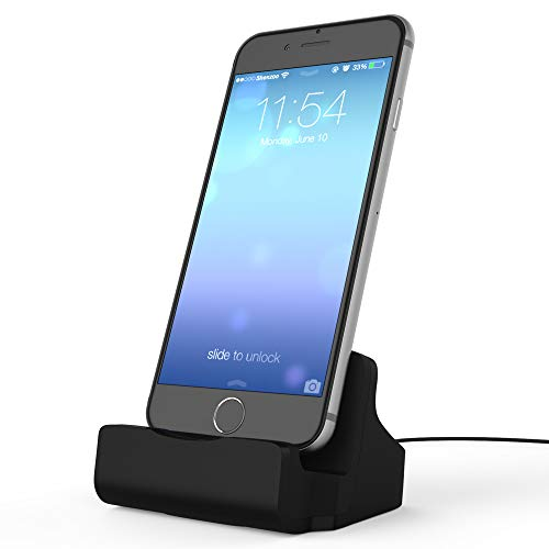 RINOO Ladestation Ladegerät Lightning Docking-Station Dock-Station inkl. USB Ladekabel Kabel Zubehör für Apple iPhone i-Phone X 8 7 6 6S 5 SE und iPod i-OS in schwarz