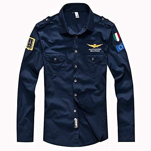 Iyfbxl camicia slim militare da uomo - colletto classico basic tinta unita/manica lunga, blu scuro, xxl