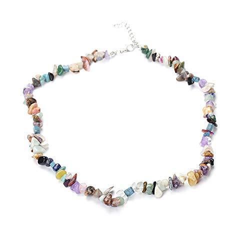 Winkey Halsketten für Frauen, handgefertigte gemischte natürliche Edelstein-Chip-Perlen, dehnbare Halskette, Heilung, Reiki-Halskette, Schmuck für Männer und Frauen, B, 1 - Indische Mop
