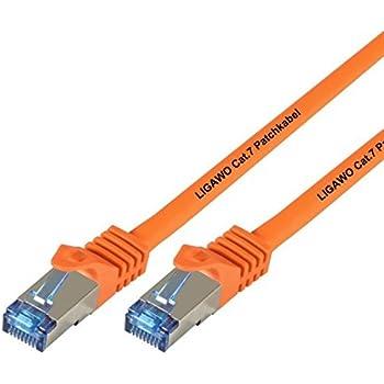 Ligawo Patchkabel Cat.7 S-FTP PiMF RJ45 Cat6A Stecker für Netzwerk/Internet Anschluss (3m) - orange