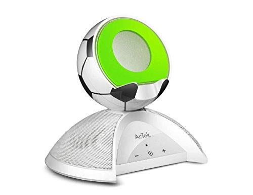 AcTek Fußballdesign Bluetooth Lautsprecher mit Handy Ständer Ladestation, 2x4W Treiber und 360° Kristallklarer Klang