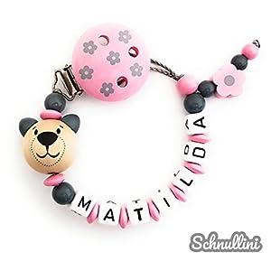 ❤️️ Schnullerkette mit Namen Mädchen Blumenclip mit Teddy Blümchen Gravur Geschenk Taufe Geburt individuell Stern | rosa Namenskette
