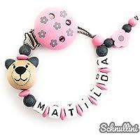 ❤️️ Schnullerkette mit Namen Mädchen Blumenclip mit Teddy Blümchen Gravur Geschenk Taufe Geburt individuell Stern   rosa Namenskette