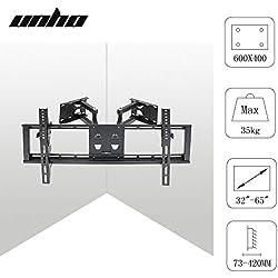 UNHO Support TV Mural d'Angle Pour Ecrans LED LCD Plasma 32 - 65 Pouces Bras Fixation de Télé Orientable et Inclinable Meuble Au Mur Flexible - Charge 35kg VESA 400x600mm
