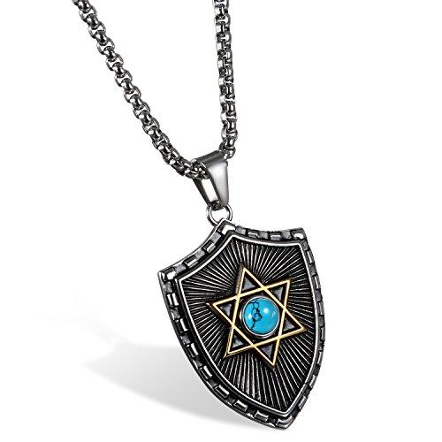 tro Herren Halskette, Edelstahl Schild Glücklich Jüdischen Davidstern Anhänger mit 60cm Kette, Blau Gold Silber ()