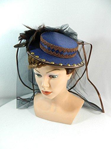 Mini Sommerhut blau braun Damenhut Fascinator (Spitze Cue Kostüm)