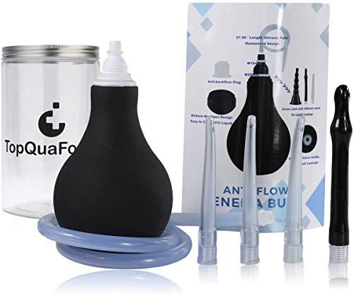 TopQuaFocus Dualmodus Klistier + Einlaufset Premium Irrigator Silikon Anal-Spülung,Analdusche und Vaginaldusche hygienischen Darmreinigung Einläufe BPA-frei 320ml (das Schwarz)