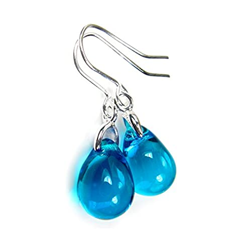 Blue Earrings Aquamarine Glass Teardrops Free Gift Box by Diosa Jewellery