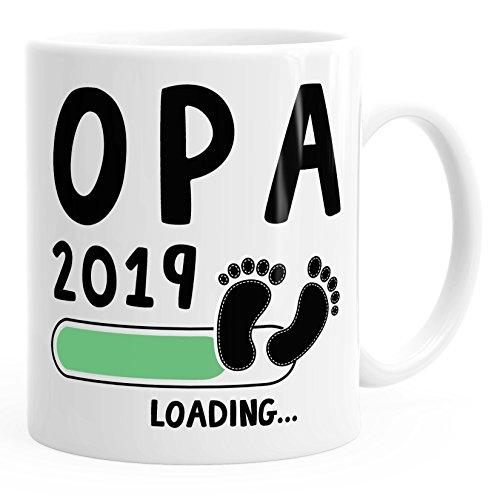 MoonWorks Kaffee-Tasse Opa 2019 Loading Geschenk-Tasse für werdenden Opa Schwangerschaft Geburt Baby Weiß Unisize