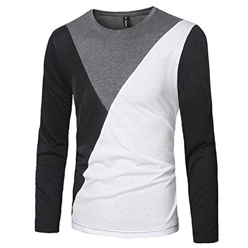 BOMOVO Herren Freizeit Spleiß Langarm T-Shirt Shirt Henley Slim Fit Dunkelgrau