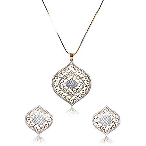 Sempre London Royal Designer placcato oro 18K due Tono partito usura collana con pendente Design orecchini in cristallo CZ Diamanti per ragazza e donna