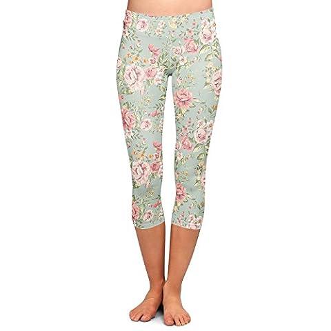 Pastel Floral Wallpaper Capri Leggings - M Sizes XS-3XL 3/4 Length